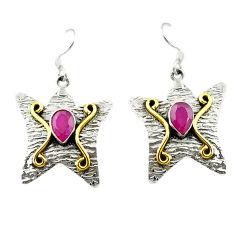 Clearance Sale- Red ruby quartz 925 sterling silver 14k gold dangle earrings jewelry d15608