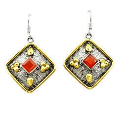 925 sterling silver natural honey onyx 14k gold dangle earrings d15658