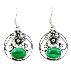 925 silver natural green malachite (pilot's stone) flower earrings d15664