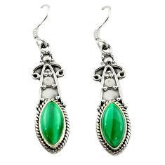 Natural green malachite (pilot's stone) 925 silver dangle earrings d15665