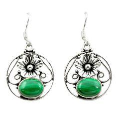 925 silver natural green malachite (pilot's stone) dangle earrings d15669