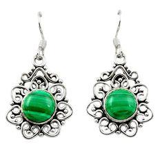Natural green malachite (pilot's stone) 925 silver dangle earrings d15672