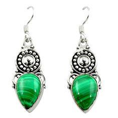 Natural green malachite (pilot's stone) 925 silver dangle earrings d15674
