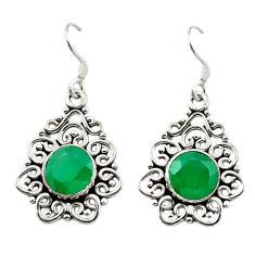 Natural green malachite (pilot's stone) 925 silver dangle earrings d15676