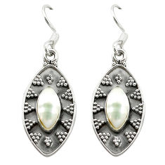 Clearance Sale- Natural white pearl 925 sterling silver dangle earrings jewelry d15683