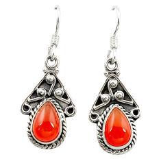 Clearance Sale- Natural orange cornelian (carnelian) 925 silver dangle earrings jewelry d15685