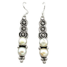 Natural white pearl 925 sterling silver dangle earrings jewelry d15706