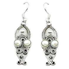 Clearance Sale- 925 sterling silver natural white pearl dangle earrings jewelry d15711