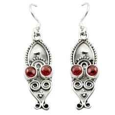 Natural red garnet 925 sterling silver dangle earrings jewelry d15713