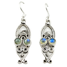 Clearance Sale- Natural blue labradorite 925 sterling silver dangle earrings d15715