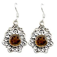 Clearance Sale- Brown smoky topaz 925 sterling silver dangle earrings jewelry d15728
