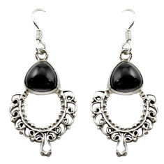 Clearance Sale- Natural black onyx 925 sterling silver dangle earrings jewelry d15748