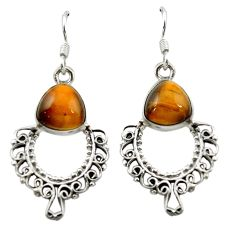 Natural brown tiger's eye 925 sterling silver dangle earrings jewelry d15755