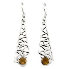 Clearance Sale- Brown smoky topaz 925 sterling silver dangle earrings jewelry d15802
