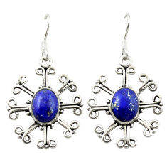 Clearance Sale- 925 sterling silver natural blue lapis lazuli dangle earrings jewelry d15808
