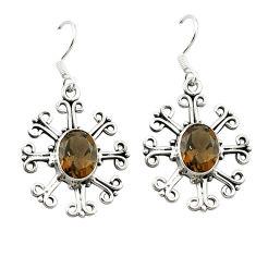 Clearance Sale- Brown smoky topaz 925 sterling silver dangle earrings jewelry d15809
