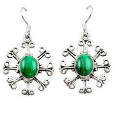 Natural green malachite (pilot's stone) 925 silver dangle earrings d15816
