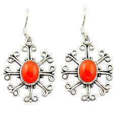 925 sterling silver natural orange cornelian (carnelian) dangle earrings d15817