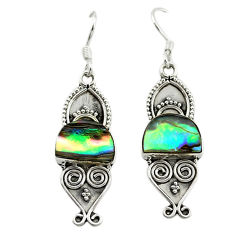 Clearance Sale- Natural green abalone paua seashell 925 silver dangle earrings d15882