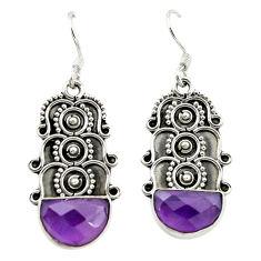 Natural purple amethyst 925 sterling silver dangle earrings d15887