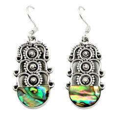 Clearance Sale- Natural green abalone paua seashell 925 silver dangle earrings d15891