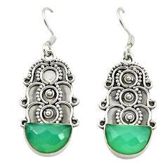 Natural aqua chalcedony 925 sterling silver dangle earrings d15892