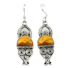 Natural brown tiger's eye 925 sterling silver dangle earrings d15893
