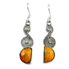 Clearance Sale- 925 sterling silver natural brown tiger's eye dangle earrings jewelry d15895