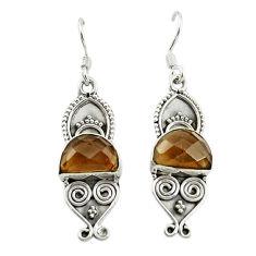 Brown smoky topaz 925 sterling silver dangle earrings jewelry d15896