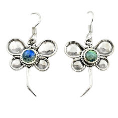 Clearance Sale- Natural blue labradorite 925 sterling silver dragonfly earrings d15907