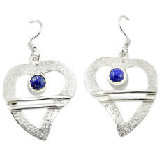 Natural blue lapis lazuli 925 sterling silver dangle earrings d15908