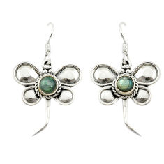 Clearance Sale- Natural blue labradorite 925 sterling silver dragonfly earrings d15910