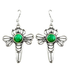 Natural green malachite (pilot's stone) 925 silver dragonfly earrings d15921