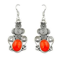 Clearance Sale- Natural orange cornelian (carnelian) 925 silver dangle earrings d15929