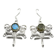 Clearance Sale- Natural blue labradorite 925 sterling silver dragonfly earrings d15953