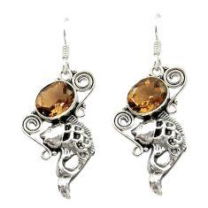 Brown smoky topaz 925 sterling silver dangle fish earrings jewelry d15965