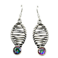 Multi color rainbow topaz 925 sterling silver dangle earrings d16025