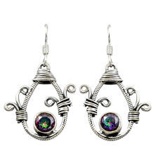 Multi color rainbow topaz 925 sterling silver dangle earrings d16026