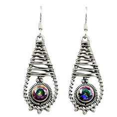Clearance Sale- Multi color rainbow topaz 925 sterling silver dangle earrings d16028