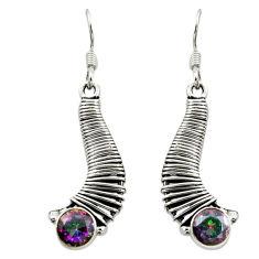 Multi color rainbow topaz 925 sterling silver dangle earrings d16031