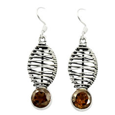 Brown smoky topaz 925 sterling silver dangle earrings jewelry d16034