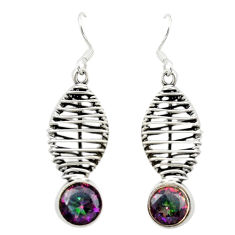 Multi color rainbow topaz 925 sterling silver dangle earrings d16035