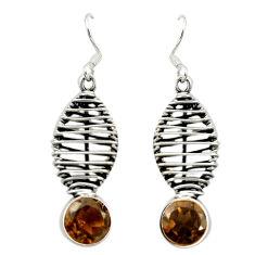 Clearance Sale- Brown smoky topaz 925 sterling silver dangle earrings jewelry d16039