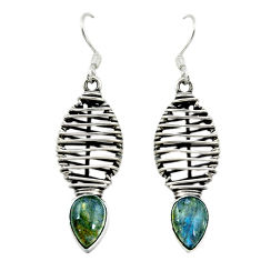 Clearance Sale- Natural blue labradorite 925 sterling silver dangle earrings d16041