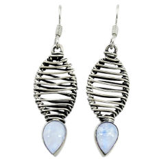 Clearance Sale- 925 sterling silver natural rainbow moonstone dangle earrings jewelry d16044