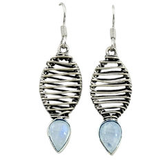Clearance Sale- Natural rainbow moonstone 925 sterling silver dangle earrings d16045