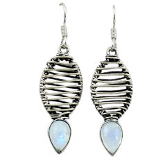 Clearance Sale- 925 sterling silver natural rainbow moonstone dangle earrings jewelry d16048