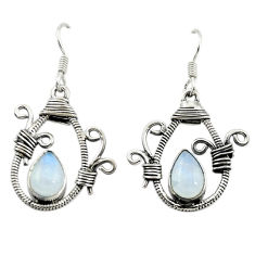 Clearance Sale- Natural rainbow moonstone 925 sterling silver dangle earrings d16050