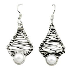 Clearance Sale- 925 sterling silver natural white pearl round dangle earrings jewelry d16064