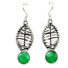 Natural green emerald 925 sterling silver dangle earrings jewelry d16066